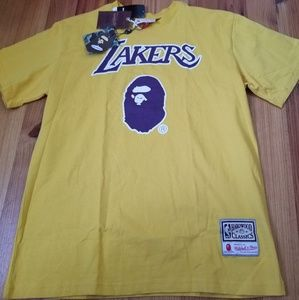 Bape x Mitchell and Ness Lakers Basketball Tshirt
